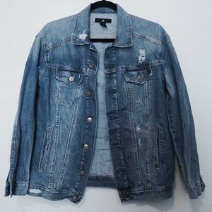 H&M Distressed Blue Denim Jacket Women's Size 6